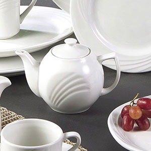 CAC GAD-TP Garden State 15 oz. Bone White Porcelain Tea Pot - 36/Case Main Image 1