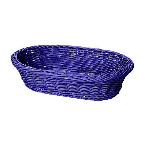 "GET WB-1505-BL 11 3/4"" x 8"" x 3"" Designer Polyweave Blue Oval Basket - 12/Case"