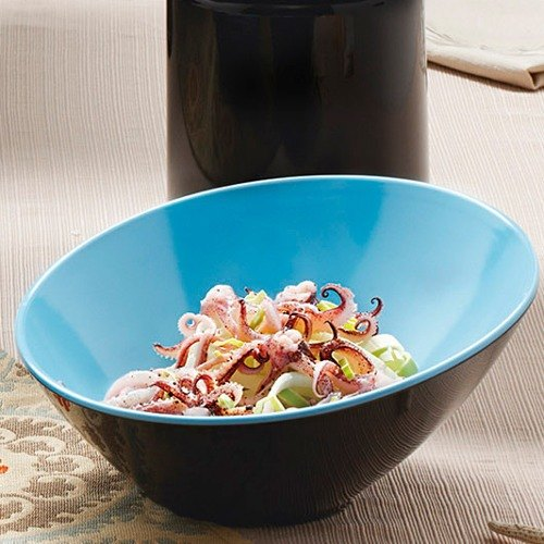 GET B-790-BL/BK Brasilia 1.9 Qt. Blue and Black Slanted Melamine Bowl - 6/Case