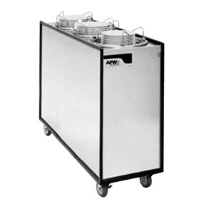 """APW Wyott Lowerator HML3-12A Mobile Enclosed Adjustable Heated Three Tube Dish Dispenser for 9 1/4"""" to 12"""" Dishes - 208/240V"""