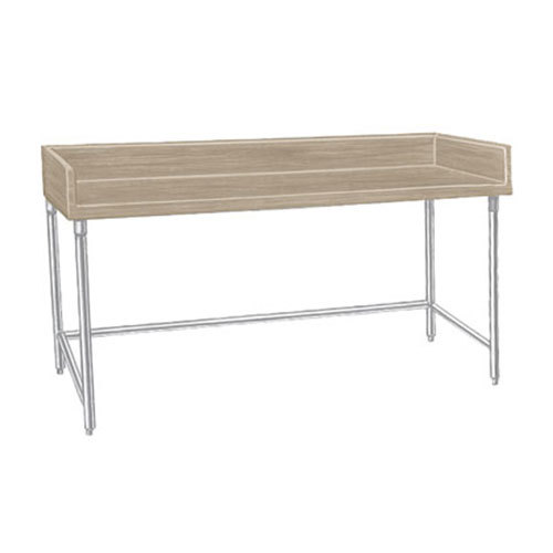 "Advance Tabco TBS-307 Wood Top Baker's Table with Stainless Steel Base - 30"" x 84"""
