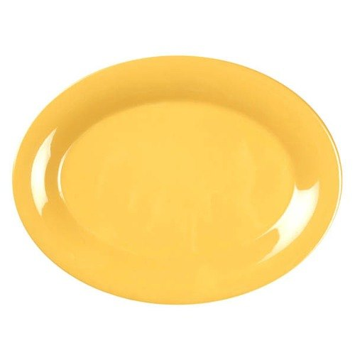 "Thunder Group CR209YW 9 1/2"" x 7 1/4"" Oval Yellow Platter - 12/Pack"