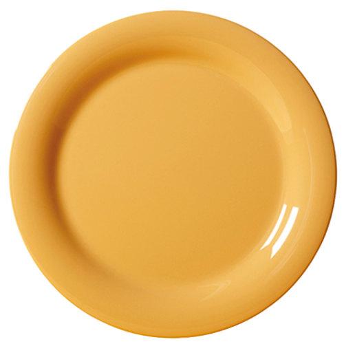 "GET NP-7-TY Diamond Mardi Gras 7 1/4"" Tropical Yellow Narrow Rim Round Melamine Plate - 48/Case"