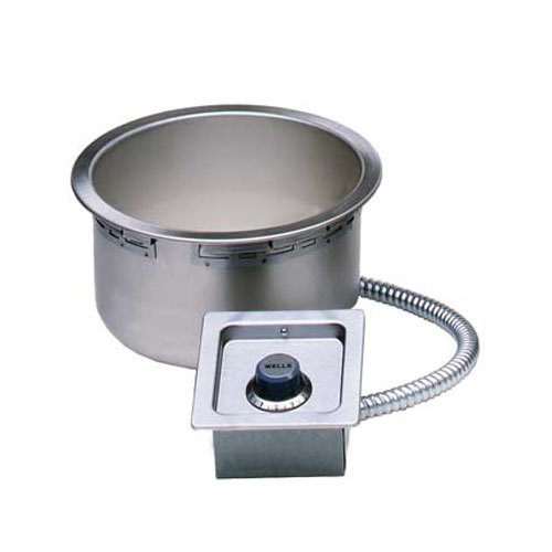 Wells 5P-SS10TDU-120 11 Qt. Round Drop-In Soup Well with Drain - Top Mount, Thermostatic Control, 120V Main Image 1