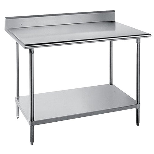 """Advance Tabco KSS-304 30"""" x 48"""" 14 Gauge Work Table with Stainless Steel Undershelf and 5"""" Backsplash"""