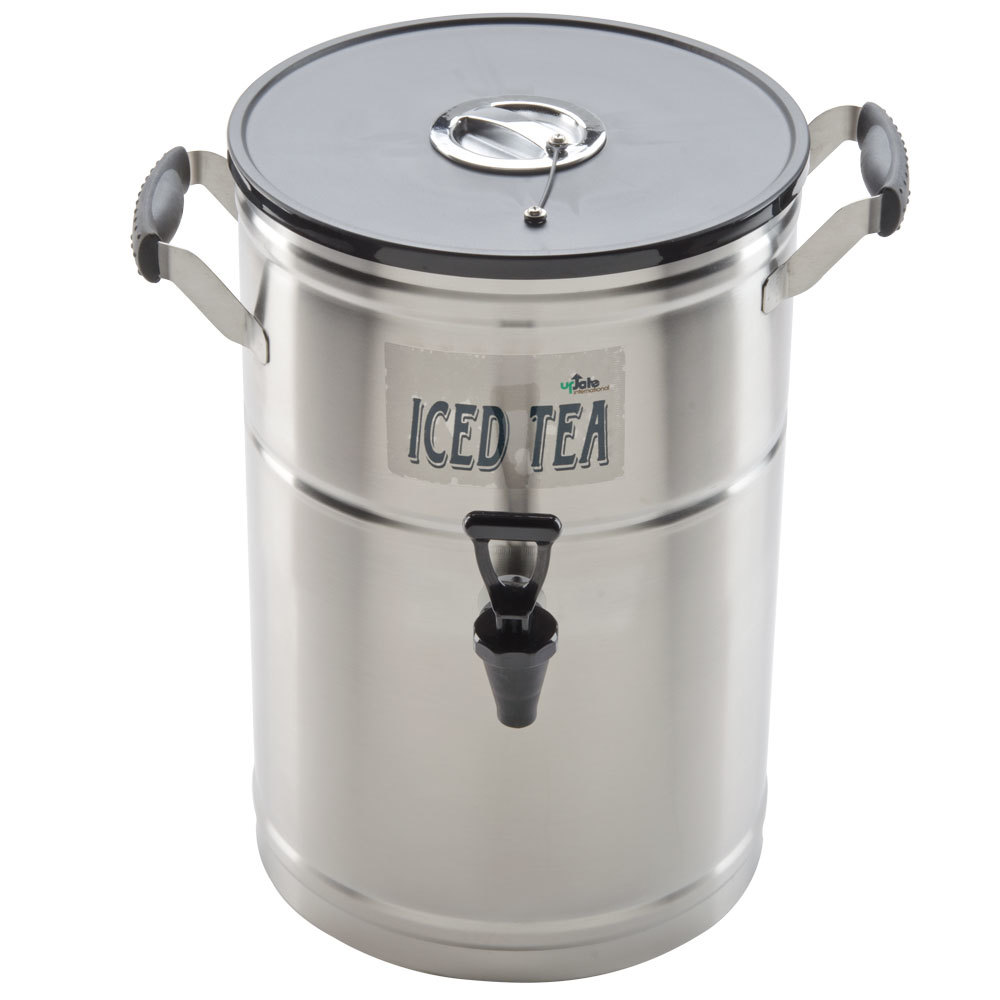 Round Tea Dispenser Stainless Steel with Plastic Lid No Drip Faucet 3 Gallon