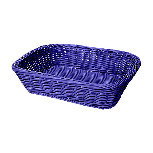 "GET WB-1508-BL 11 1/2"" x 8 1/2"" x 2 3/4"" Designer Polyweave Blue Rectangular Basket - 12/Case"