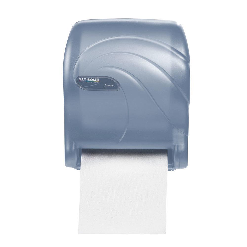 San Jamar T8090TBL Oceans Essence Hands Free Paper Towel Dispenser Arctic Blue