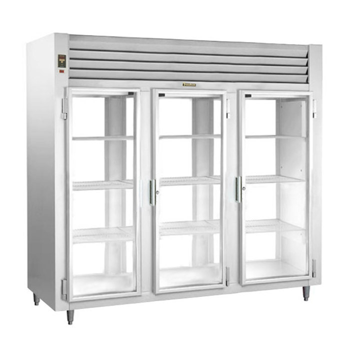Traulsen RHT332WPUT-FHG Stainless Steel Three Section Glass Door Pass-Through Refrigerator - Specification Line Main Image 1