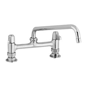 """Equip by T&S 5F-8DLX12 Deck Mount Swivel Base Mixing Faucet with 12"""" Swing Nozzle and 8"""" Centers - ADA Compliant"""