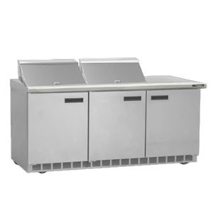 """Delfield UC4472N-12 72"""" 3 Door Reduced Height Refrigerated Sandwich Prep Table"""