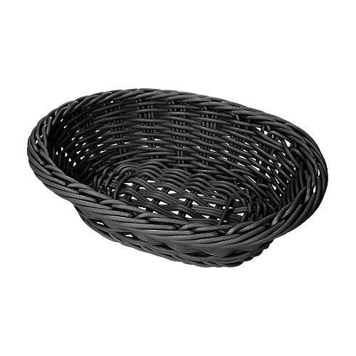 "GET WB-1503-BK 9"" x 6 3/4"" x 2 1/2"" Designer Polyweave Black Oval Basket - 12/Case"