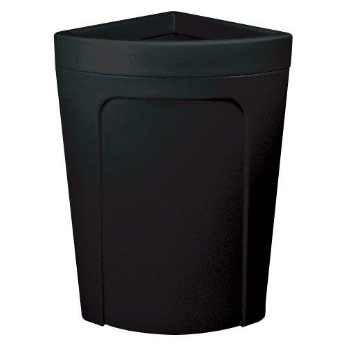 Continental 8324BK Corner'Round 21 Gallon Black Corner Trash Can - Rim Type