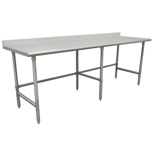 """Advance Tabco TKLG-3012 30"""" x 144"""" 14 Gauge Open Base Stainless Steel Commercial Work Table with 5"""" Backsplash"""
