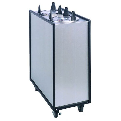 """APW Wyott Lowerator HML2-10 Mobile Enclosed Heated Two Tube Dish Dispenser for 9 1/4"""" to 10 1/8"""" Dishes - 208/240V"""