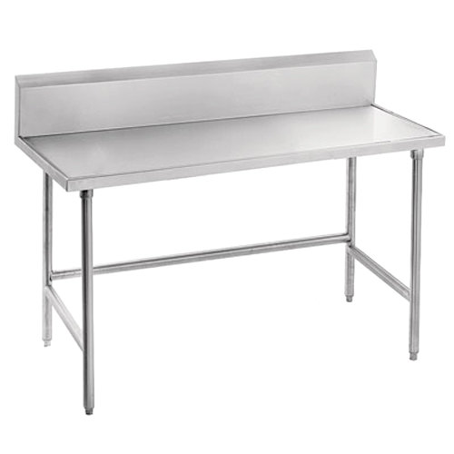 """Advance Tabco Spec Line TVKS-302 30"""" x 24"""" 14 Gauge Stainless Steel Commercial Work Table with 10"""" Backsplash"""