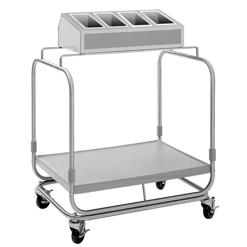 Delfield UTSP-1 Tray and Silverware Cart with 4 Silverware Pans and Fiberglass Tray Shelf
