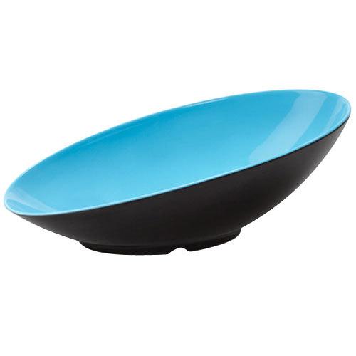 GET B-798-BL/BK Brasilia 2.5 Qt. Blue and Black Oval Slanted Melamine Bowl - 6/Case