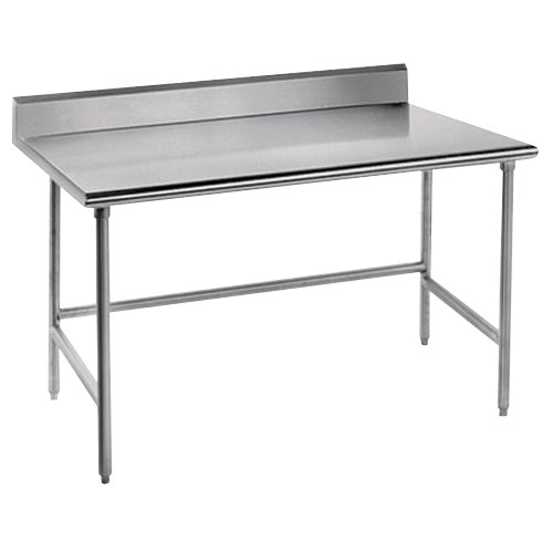"""Advance Tabco TSKG-364 36"""" x 48"""" 16 Gauge Open Base Stainless Steel Commercial Work Table with 5"""" Backsplash"""