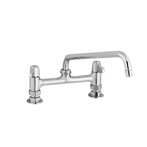 "Equip by T&S 5F-8DLX06 Deck Mount Swivel Base Mixing Faucet with 6"" Swivel Nozzle and 8"" Centers - ADA Compliant"