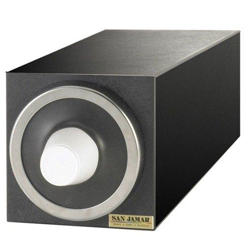San Jamar C2901 EZ-Fit Black 1-Slot Vertical 8 - 46 oz. Countertop Cup Dispenser Cabinet with Metal Trim Ring Main Image 1