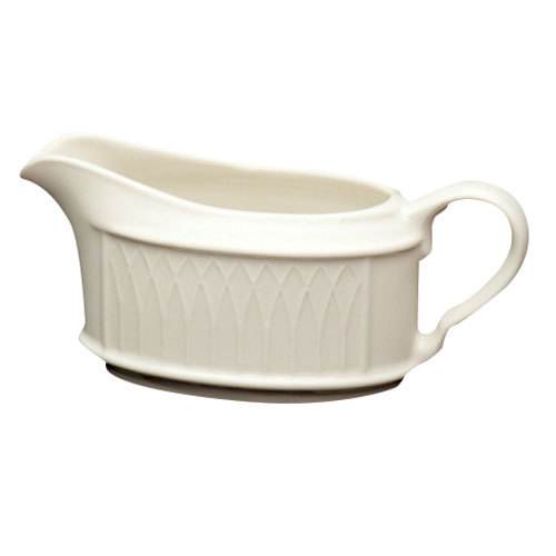 Homer Laughlin 3197000 Gothic 11.75 oz. Ivory (American White) Undecorated China Sauce Boat - 12/Case