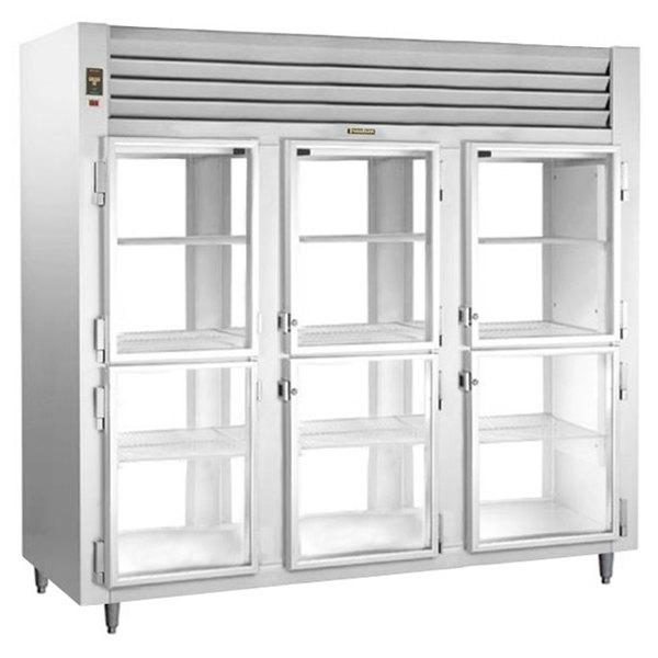 Traulsen AHT332WPUT-HHG Three Section Glass Half Door Pass-Through Refrigerator - Specification Line Main Image 1