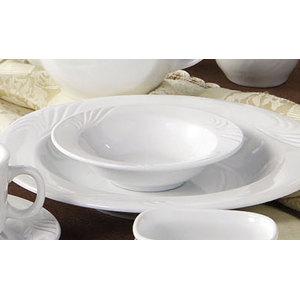 CAC RSV-32 Roosevelt 3.5 oz. Super White Porcelain Fruit / Monkey Dish - 36/Case