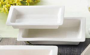 "CAC TSP-21 White Porcelain Rectangular Tray 12"" x 7"" - 12/Case"