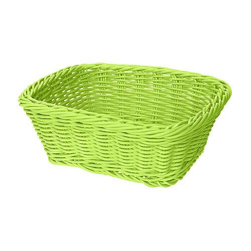 """GET WB-1506-G 9 1/2"""" x 7 3/4"""" x 3 1/2"""" Designer Polyweave Green Rectangular Basket - 12/Case"""