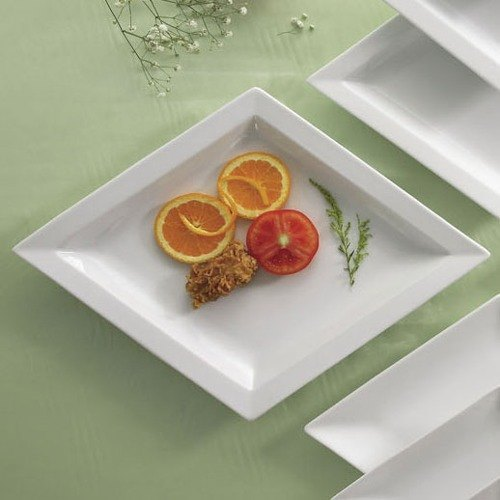 "CAC DM-71 White Diamond 17"" x 13 1/2"" Bright White Porcelain Narrow Rim Serving Platter - 12/Case"