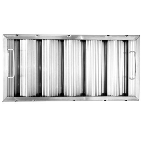 """All Points 26-3889 10"""" x 20"""" x 2"""" Stainless Steel Hood Filter - Ridged Baffles"""