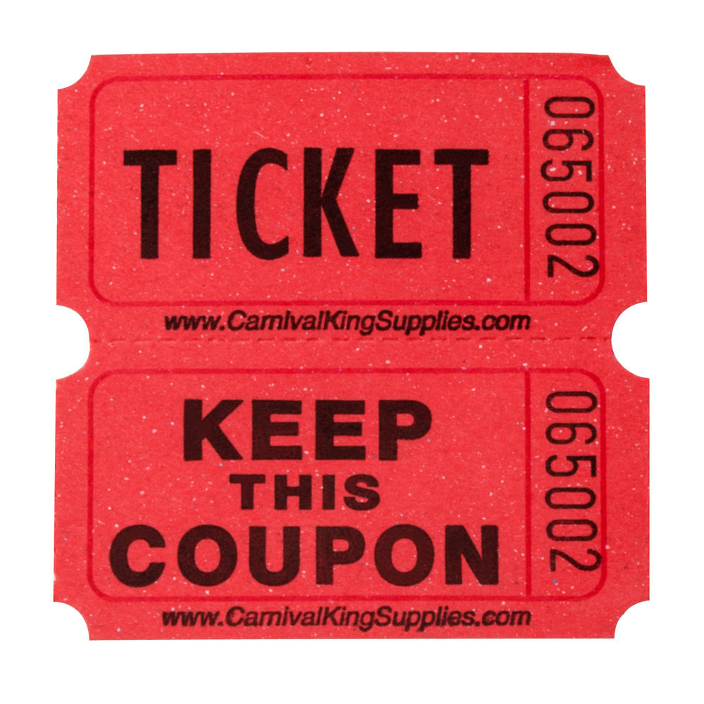 carnival king red 2-part raffle tickets   roll