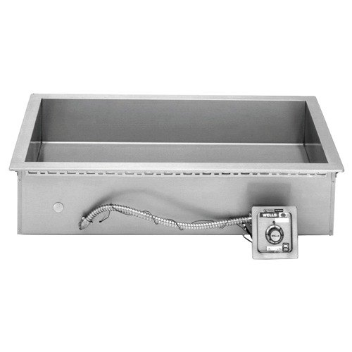Wells HT400 Bain Marie Style 4 Pan Drop-In Hot Food Well with Drain - Top Mount, Thermostat Control