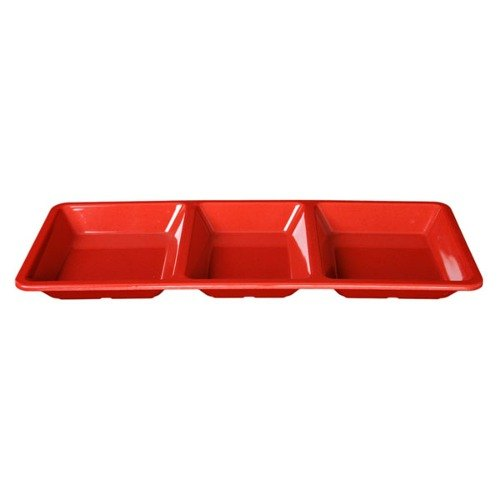 Thunder Group PS5103RD Passion Red Melamine Rectangular 3 Section Compartment Tray - 6/Pack