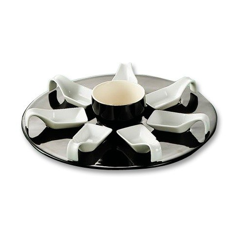 """CAC PTP-23-BLK Bright White Party Collection Porcelain 7 Square Spoon Set with 12 3/4"""" Black Tray and 7 oz. Bowl - 4/Case"""
