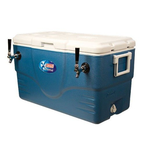 Micro Matic CB68B Blue 2 Faucet 68 Qt. Insulated Jockey Box with 100 ft. Coils
