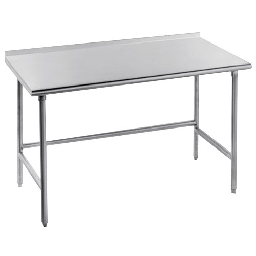 """Advance Tabco TFSS-240 24"""" x 30"""" 14 Gauge Open Base Stainless Steel Commercial Work Table with 1 1/2"""" Backsplash"""