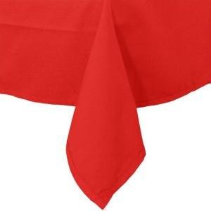 "72"" x 120"" Red Hemmed Polyspun Cloth Table Cover"