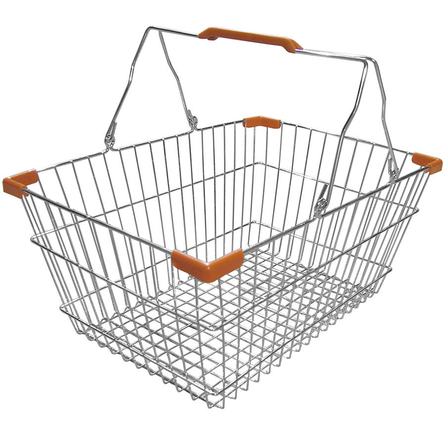 18 Quot X 13 Quot X 8 Quot Chrome Grocery Market Shopping Basket With