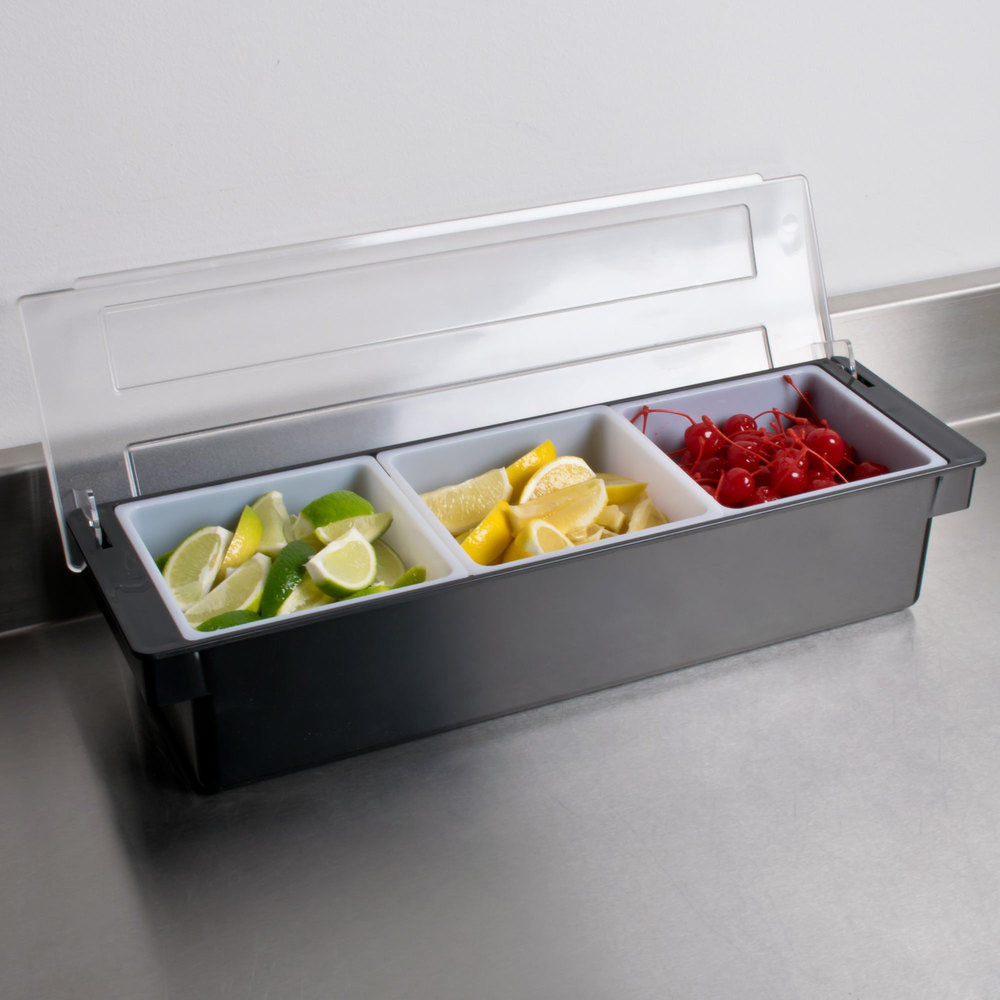 Ice Cooled Condiment Holder SIX Compartments BLACK Chilled Dispenser Cocktail