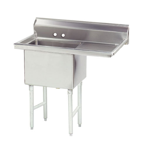 Right Drainboard Advance Tabco FS-1-3024-24 Spec Line Fabricated One Compartment Pot Sink with One Drainboard - 56 1/2""