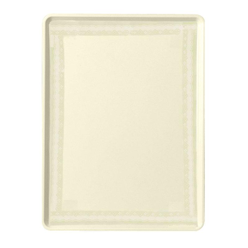 "Cambro 1219D241 12"" x 19"" Antique Parchment Doily Dietary Tray - 12/Case"