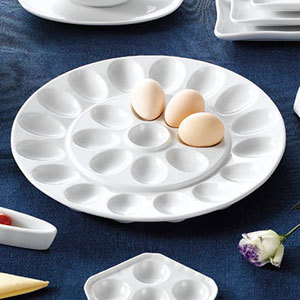 "CAC PEG-R21 White China Egg Plate 13"" - 12/Case"