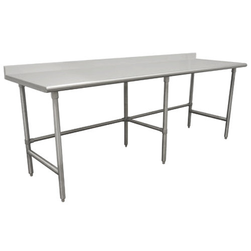 """Advance Tabco TKLG-369 36"""" x 108"""" 14 Gauge Open Base Stainless Steel Commercial Work Table with 5"""" Backsplash"""