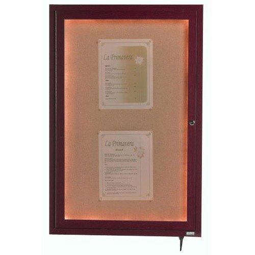 "Aarco LWL4836C 48"" x 36"" Cherry Finish Lighted Bulletin Board Cabinet"