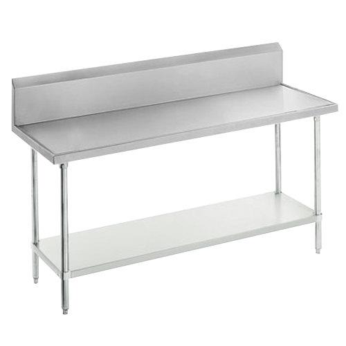 "Advance Tabco VKG-366 Spec Line 36"" x 72"" 14 Gauge Work Table with Galvanized Undershelf and 10"" Backsplash"