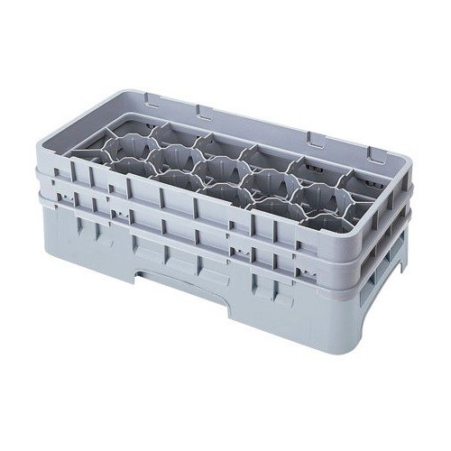 "Cambro 17HS958151 Camrack Customizable 10 1/8"" High Customizable Soft Gray 17 Compartment Half Size Glass Rack"