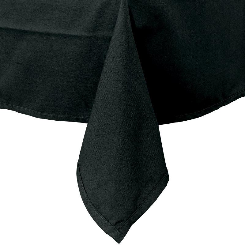 "72"" x 120"" Black Hemmed Polyspun Cloth Table Cover"