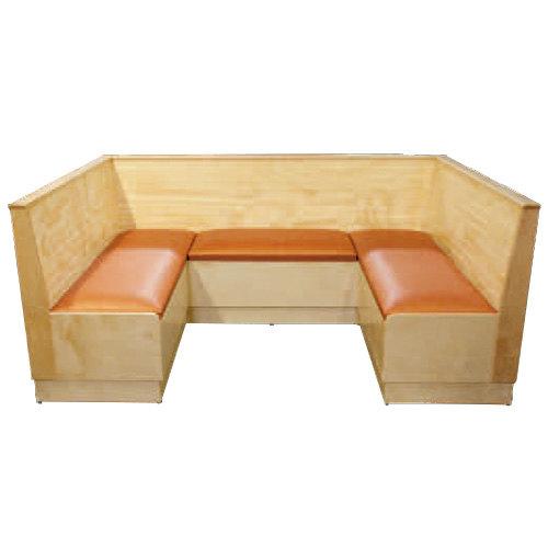 "American Tables & Seating AS36-WBB-PS-1/2 Bead Board Back Platform Seat 1/2 Circle Wood Corner Booth - 36"" High Main Image 1"